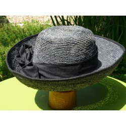 Sombrero raphia gris souris